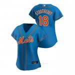 Camiseta Beisbol Mujer New York Mets Darryl Strawberry 2020 Replica Alterno Azul