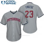 Camiseta Beisbol Hombre Pittsburgh Pirates 2017 Estrellas y Rayas David Freese Gris Cool Base