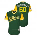 Camiseta Beisbol Hombre Oakland Athletics Andrew Triggs 2018 Llws Players Weekend Triggonometry Green