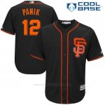 Camiseta Beisbol Hombre San Francisco Giants 12 Joe Panik Negro 2017 Cool Base