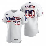 Camiseta Beisbol Hombre Los Angeles Dodgers Personalizada Stars & Stripes 4th of July Blanco