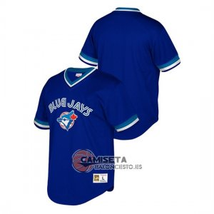 Camiseta Beisbol Hombre Toronto Blue Jays Cooperstown Collection Mesh Wordmark V-Neck Azul