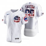 Camiseta Beisbol Hombre Chicago Cubs Personalizada 2020 Stars & Stripes 4th of July Blanco