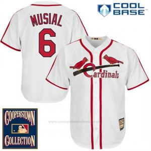 Camiseta Beisbol Hombre St. Louis Cardinals St Louis Stan Musial 6 Blanco Cool Base Cooperstown