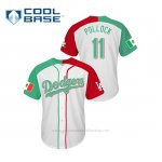 Camiseta Beisbol Hombre Los Angeles Dodgers 11 A.j. Pollock Mexican Heritage Night Cool Base Blanco