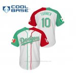 Camiseta Beisbol Hombre Los Angeles Dodgers 10 Justin Turner Cool Base Mexican Heritage Night Blanco