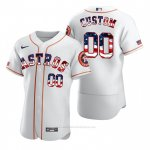 Camiseta Beisbol Hombre Houston Astros Personalizada Stars & Stripes 4th of July Blanco
