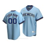 Camiseta Beisbol Hombre Milwaukee Brewers Personalizada Cooperstown Collection Road Azul