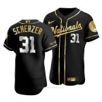 Camiseta Beisbol Hombre Washington Nationals Max Scherzer Golden Edition Autentico Negro Oro