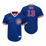 Camiseta Beisbol Nino Chicago Cubs David Bote Cooperstown Collection Road Azul