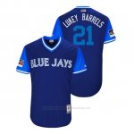 Camiseta Beisbol Hombre Toronto Blue Jays Luke Maile 2018 Llws Players Weekend Lukey Barrels Azul