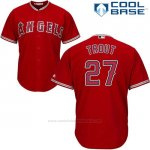Camiseta Beisbol Hombre Los Angeles Angels 27 Mike Trout Scarlet Cool Base