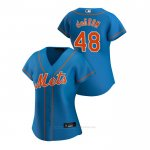 Camiseta Beisbol Mujer New York Mets Jacob Degrom 2020 Replica Alterno Azul