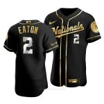 Camiseta Beisbol Hombre Washington Nationals Adam Eaton Golden Edition Autentico Negro Oro