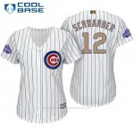 Camiseta Beisbol Mujer Chicago Cubs 12 Kyle Schwarber Blanco Oro Program Cool Base