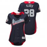 Camiseta Beisbol Mujer All Star Game Majestic Corey Kluber 2018 Primera Run Derby American League Azul