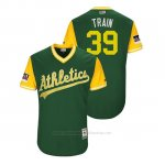 Camiseta Beisbol Hombre Oakland Athletics Blake Treinen 2018 Llws Players Weekend Train Green