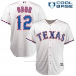 Camiseta Beisbol Hombre Texas Rangers 12 Rougned Odor Blanco Cool Base
