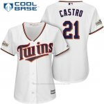 Camiseta Beisbol Mujer Minnesota Twins 2017 Postemporada Jason Castro Blanco Cool Base