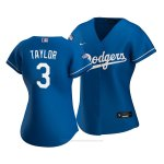 Camiseta Beisbol Mujer Los Angeles Dodgers Chris Taylor 2020 Alterno Replica Azul