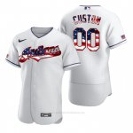 Camiseta Beisbol Hombre Cleveland Indians Personalizada 2020 Stars & Stripes 4th of July Blanco