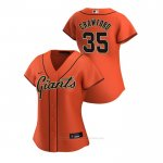Camiseta Beisbol Mujer San Francisco Giants Brandon Crawford 2020 Replica Alterno Naranja