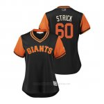 Camiseta Beisbol Mujer San Francisco Giants Hunter Strickland 2018 Llws Players Weekend Strick Negro
