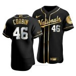 Camiseta Beisbol Hombre Washington Nationals Patrick Corbin Golden Edition Autentico Negro Oro