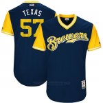 Camiseta Beisbol Hombre Milwaukee Brewers 2017 Little League World Series Chase Anderson Azul