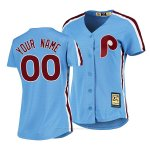 Camiseta Beisbol Mujer Philadelphia Phillies Personalizada Cooperstown Collection Road Azul