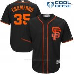 Camiseta Beisbol Hombre San Francisco Giants 35 Brandon Crawford Negro 2017 Cool Base