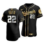 Camiseta Beisbol Hombre Washington Nationals Juan Soto Golden Edition Autentico Negro Oro