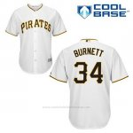 Camiseta Beisbol Hombre Pittsburgh Pirates A.j. Burnett 34 Blanco Primera Cool Base
