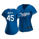 Camiseta Beisbol Mujer Los Angeles Dodgers Matt Beaty 2020 Alterno Replica Azul