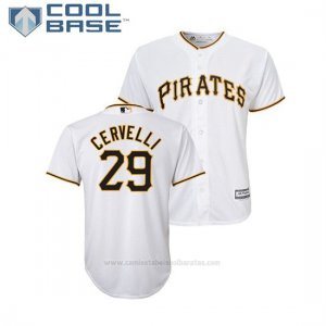 Camiseta Beisbol Nino Pittsburgh Pirates Francisco Cervelli Cool Base Majestic Primera Blanco