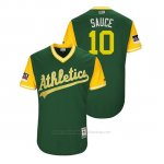 Camiseta Beisbol Hombre Oakland Athletics Marcus Semien 2018 Llws Players Weekend Sauce Green