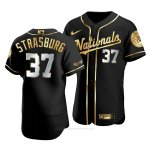 Camiseta Beisbol Hombre Washington Nationals Stephen Strasburg Golden Edition Autentico Negro Oro