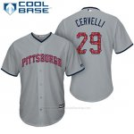 Camiseta Beisbol Hombre Pittsburgh Pirates 2017 Estrellas y Rayas Francisco Cervelli Gris Cool Base