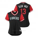 Camiseta Beisbol Mujer Arizona Diamondbacks Nick Ahmed 2018 Llws Players Weekend Slick Nick Negro