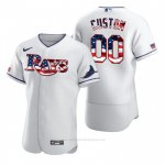 Camiseta Beisbol Hombre Tampa Bay Rays Personalizada Stars & Stripes 4th of July Blanco